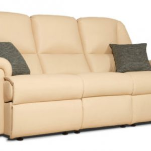 Milburn Standard Leather Fixed 3-Seater Settee