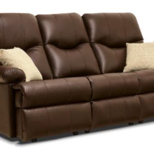 Norvik Standard Leather Fixed 3-Seater Settee