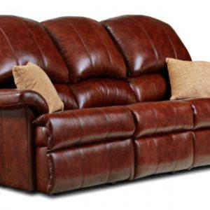 Bergen Standard Leather Fixed 3-Seater Settee
