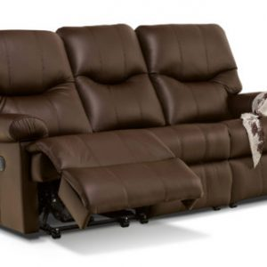 Norvik Standard Leather Reclining 3-Seater Settee