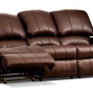 Bergen Standard Leather Reclining 3-Seater Settee